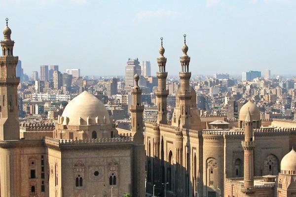 Image of Cairo with Alazhar mosque in the foreground.