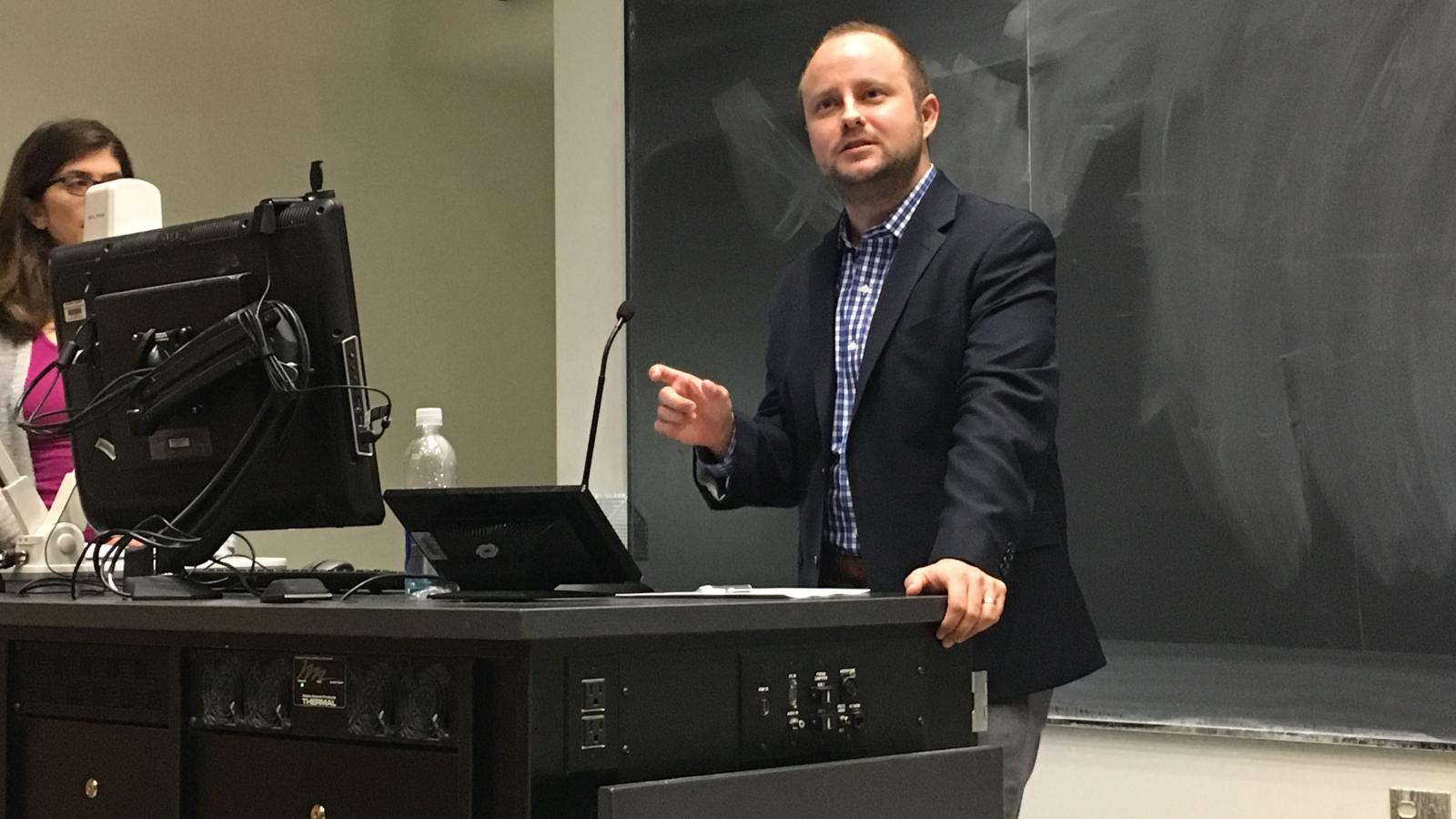 Image of Nathan Lean presenting on Feb. 20, 2017